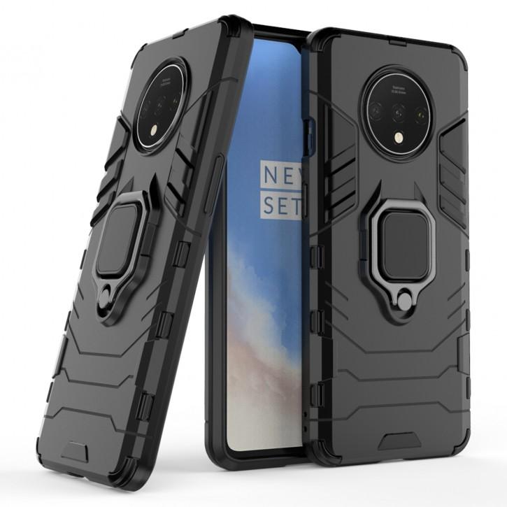COOVY® Cover für Oneplus 7T  Bumper Case, Plastik + TPU-Silikon, extra stark, Anti-Shock, Stand Funktion + Magnethalter kompatibel |