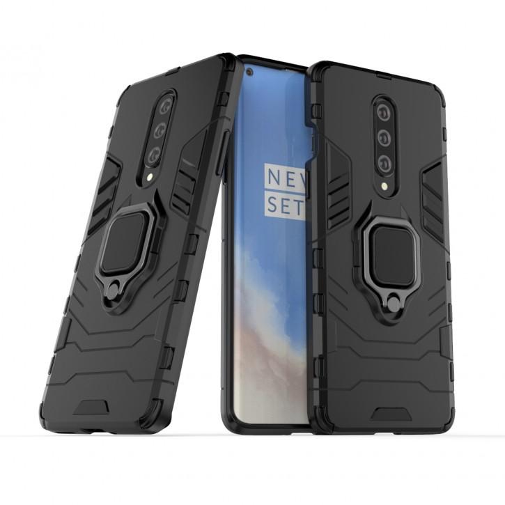 COOVY® Cover für Oneplus 8 Bumper Case, Plastik + TPU-Silikon, extra stark, Anti-Shock, Stand Funktion + Magnethalter kompatibel |