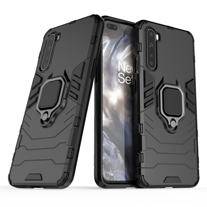 COOVY® Cover für Oneplus Nord Bumper Case, Plastik + TPU-Silikon, extra stark, Anti-Shock, Stand Funktion + Magnethalter kompatibel |