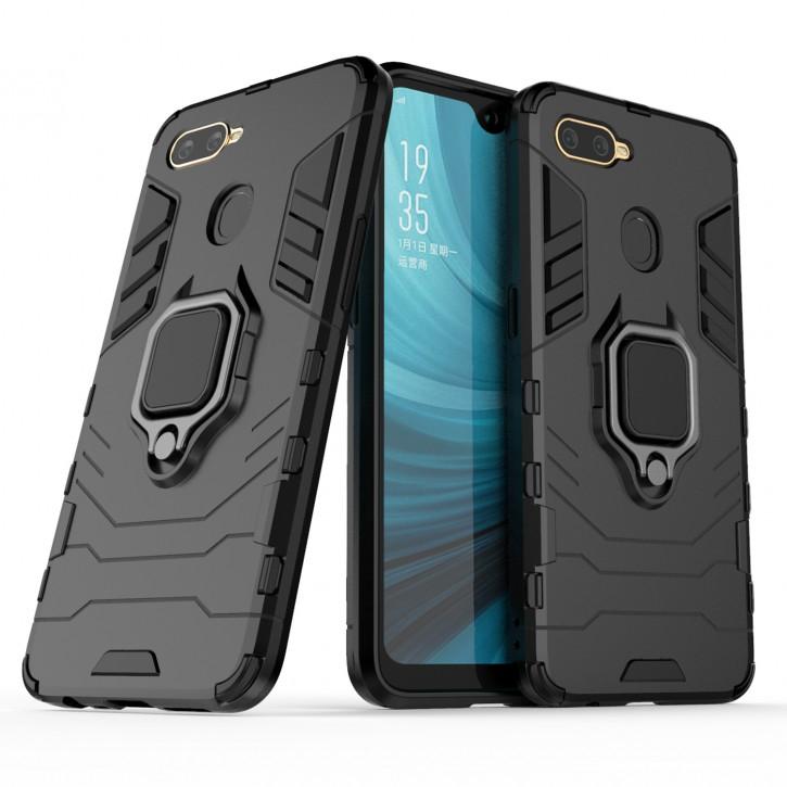 COOVY® Cover für Oppo A7 / A12 Bumper Case, Plastik + TPU-Silikon, extra stark, Anti-Shock, Stand Funktion + Magnethalter kompatibel |