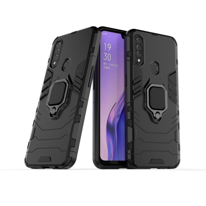 COOVY® Cover für Oppo A8 / A31 Bumper Case, Plastik + TPU-Silikon, extra stark, Anti-Shock, Stand Funktion + Magnethalter kompatibel |