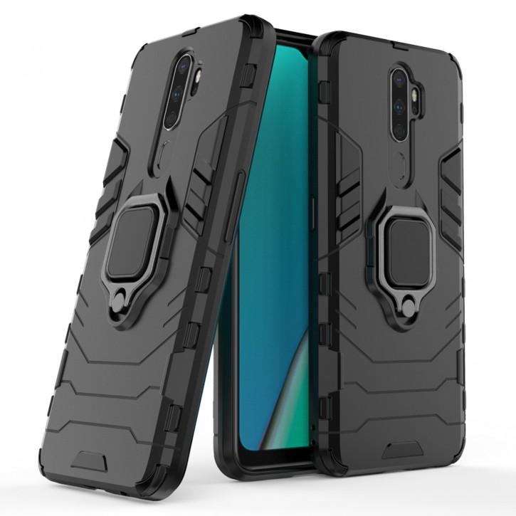COOVY® Cover für Oppo A9 2020 Bumper Case, Plastik + TPU-Silikon, extra stark, Anti-Shock, Stand Funktion + Magnethalter kompatibel |