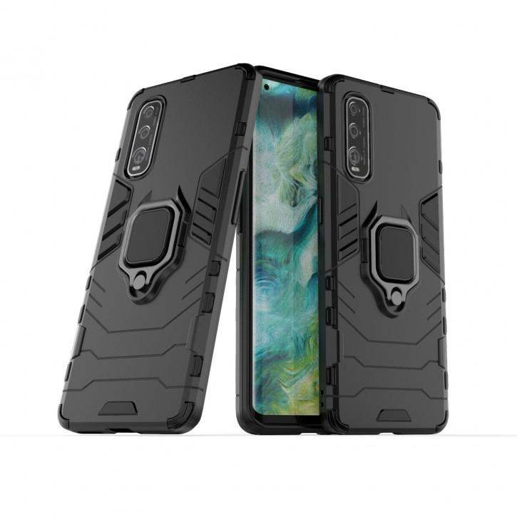 COOVY® Cover für Oppo Find X2 Bumper Case, Plastik + TPU-Silikon, extra stark, Anti-Shock, Stand Funktion + Magnethalter kompatibel |