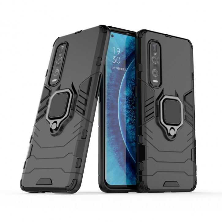 COOVY® Cover für Oppo Find X2 Pro Bumper Case, Plastik + TPU-Silikon, extra stark, Anti-Shock, Stand Funktion + Magnethalter kompatibel  
