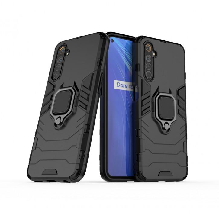 COOVY® Cover für Oppo Realme 6 Bumper Case, Plastik + TPU-Silikon, extra stark, Anti-Shock, Stand Funktion + Magnethalter kompatibel |