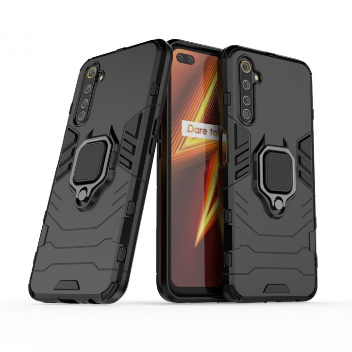 COOVY® Cover für Oppo Realme 6 Pro Bumper Case, Plastik + TPU-Silikon, extra stark, Anti-Shock, Stand Funktion + Magnethalter kompatibel |