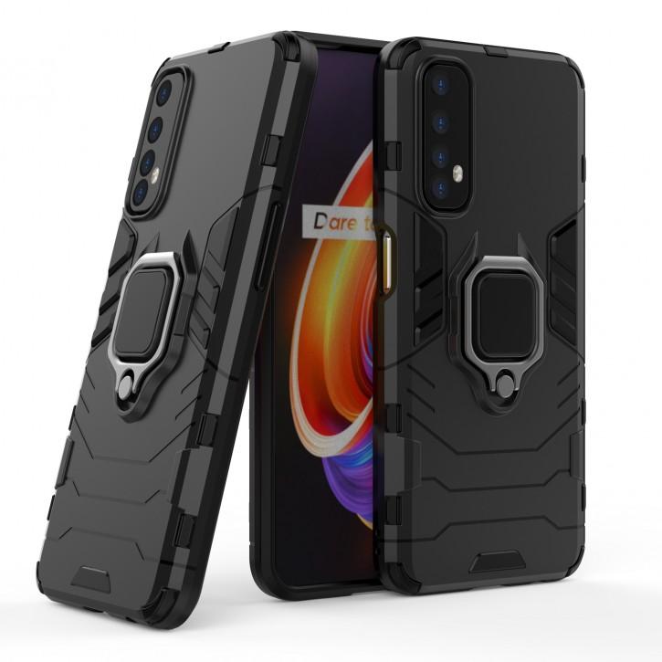 COOVY® Cover für Oppo Realme 7 Bumper Case, Plastik + TPU-Silikon, extra stark, Anti-Shock, Stand Funktion + Magnethalter kompatibel |