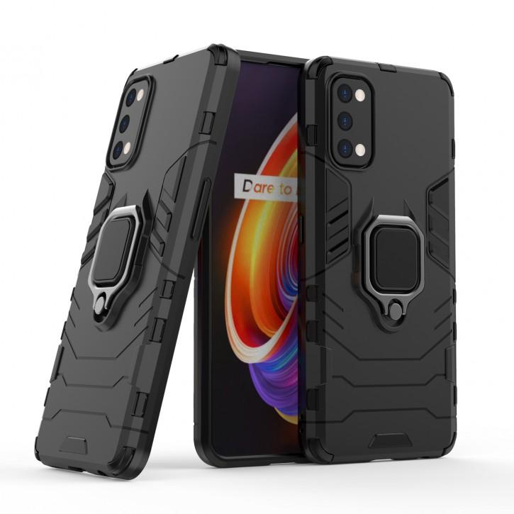 COOVY® Cover für Oppo Realme 7 Pro Bumper Case, Plastik + TPU-Silikon, extra stark, Anti-Shock, Stand Funktion + Magnethalter kompatibel |