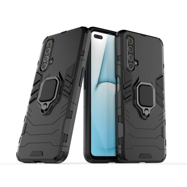 COOVY® Cover für Oppo Realme X50 5G Bumper Case, Plastik + TPU-Silikon, extra stark, Anti-Shock, Stand Funktion + Magnethalter kompatibel |