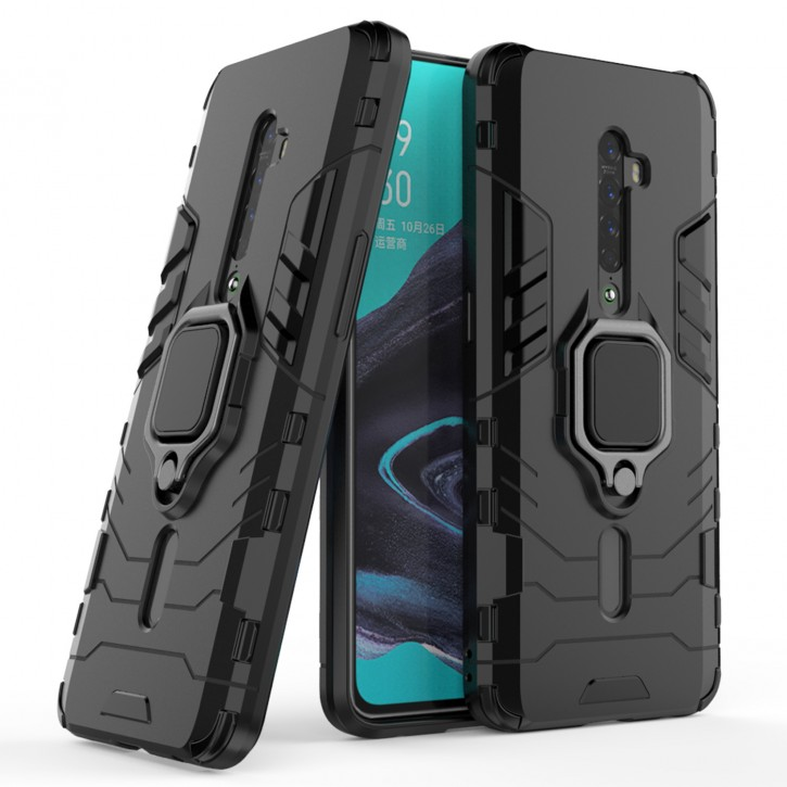 COOVY® Cover für Oppo Reno 2 Bumper Case, Plastik + TPU-Silikon, extra stark, Anti-Shock, Stand Funktion + Magnethalter kompatibel |