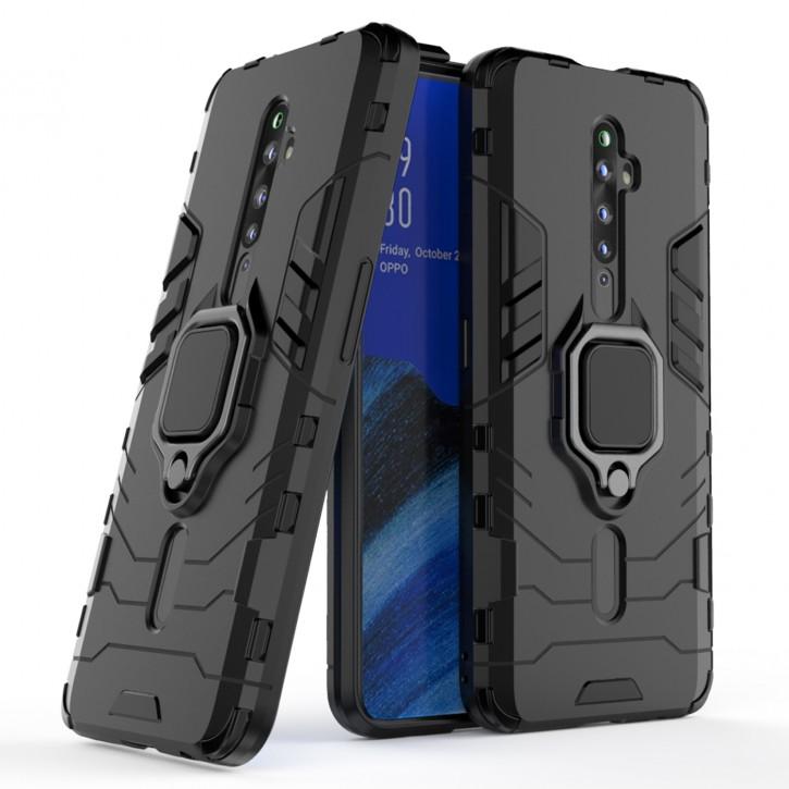 COOVY® Cover für Oppo Reno 2 Z / Reno2 F Bumper Case, Plastik + TPU-Silikon, extra stark, Anti-Shock, Stand Funktion + Magnethalter kompatibel |