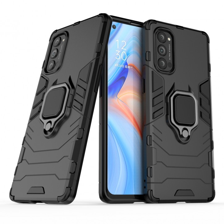 COOVY® Cover für Oppo Reno 4 Pro 5G Bumper Case, Plastik + TPU-Silikon, extra stark, Anti-Shock, Stand Funktion + Magnethalter kompatibel |
