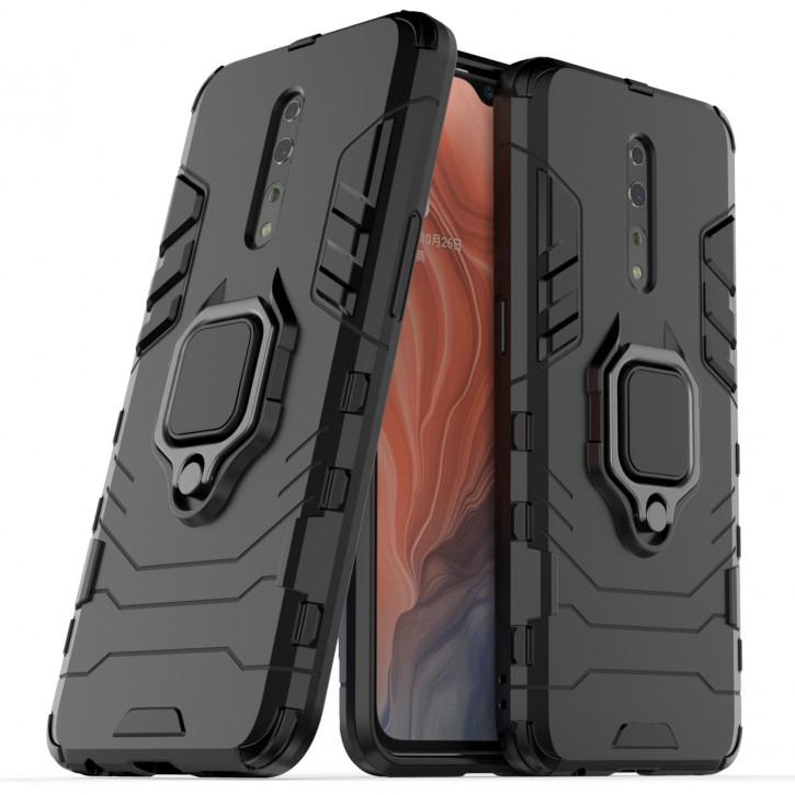 COOVY® Cover für Oppo Reno Z Bumper Case, Plastik + TPU-Silikon, extra stark, Anti-Shock, Stand Funktion + Magnethalter kompatibel |