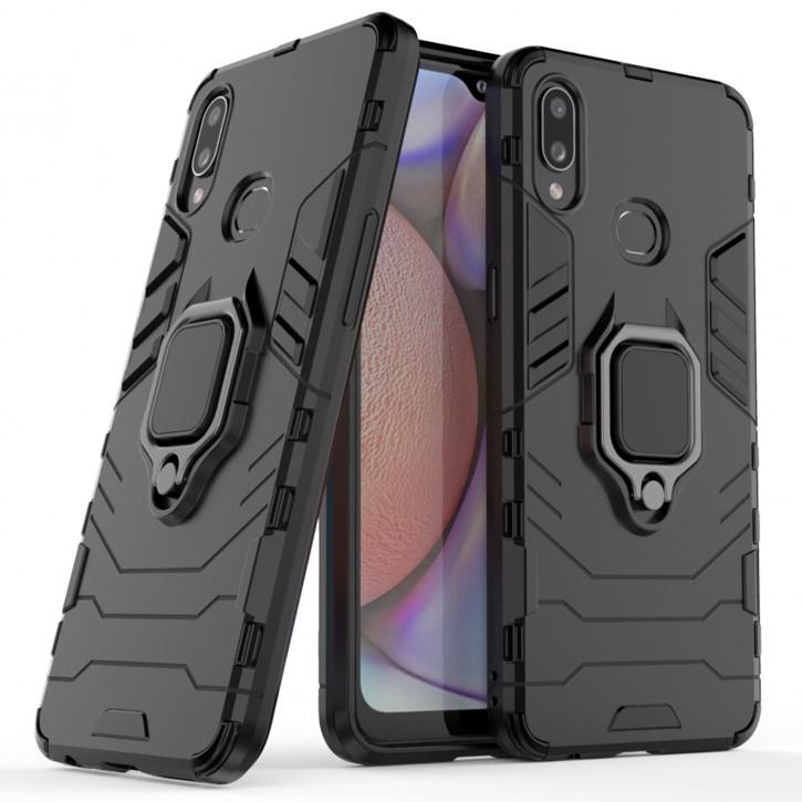 COOVY® Cover für Samsung Galaxy A10s SM-A107F/DS  Bumper Case, Plastik + TPU-Silikon, extra stark, Anti-Shock, Stand Funktion + Magnethalter kompatibel |