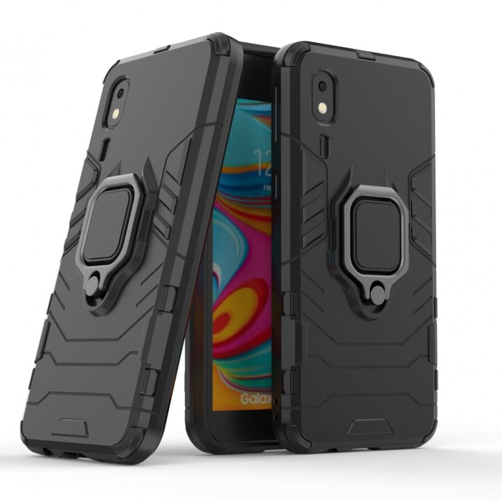 COOVY® Cover für Samsung Galaxy A2 Core SM-A260F/DS Bumper Case, Plastik + TPU-Silikon, extra stark, Anti-Shock, Stand Funktion + Magnethalter kompatibel |