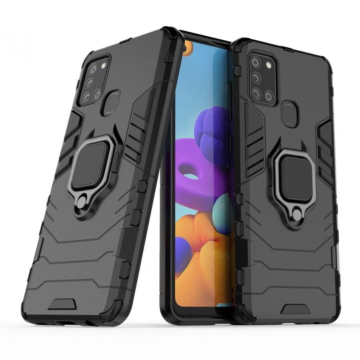COOVY® Cover für Samsung Galaxy A21s SM-A217F/DS Bumper Case, Plastik + TPU-Silikon, extra stark, Anti-Shock, Stand Funktion + Magnethalter kompatibel |