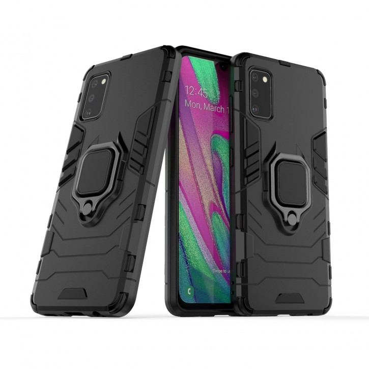 COOVY® Cover für Samsung Galaxy A41 SM-A415F/DSN Bumper Case, Plastik + TPU-Silikon, extra stark, Anti-Shock, Stand Funktion + Magnethalter kompatibel |