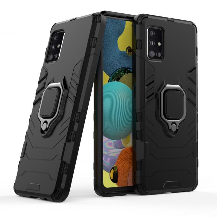 COOVY® Cover für Samsung Galaxy A51 5G SM-A516B/DS Bumper Case, Plastik + TPU-Silikon, extra stark, Anti-Shock, Stand Funktion + Magnethalter kompatibel  
