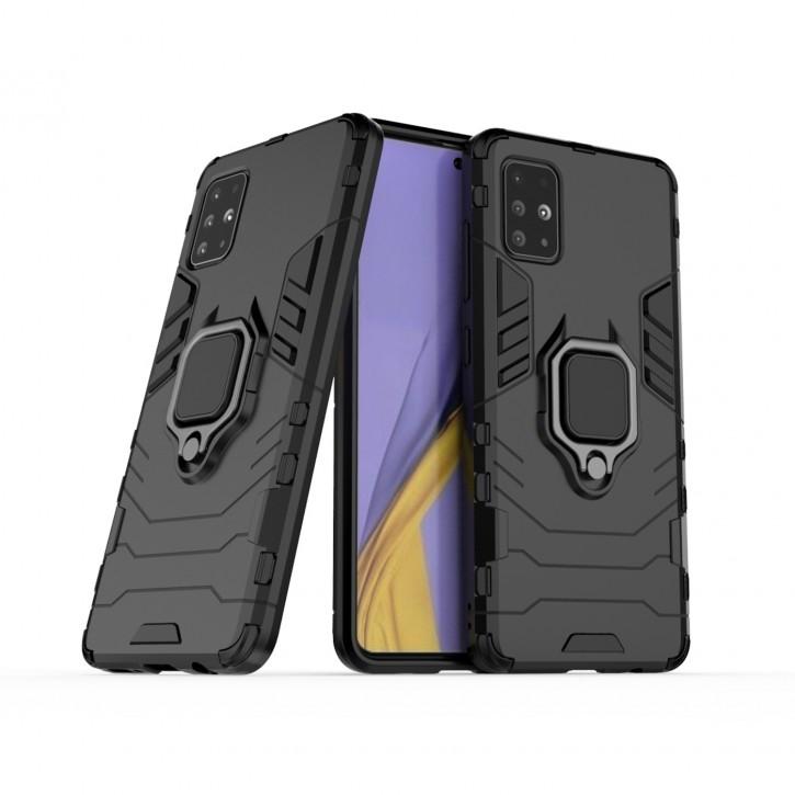 COOVY® Cover für Samsung Galaxy A51 SM-A515F/DSN Bumper Case, Plastik + TPU-Silikon, extra stark, Anti-Shock, Stand Funktion + Magnethalter kompatibel |