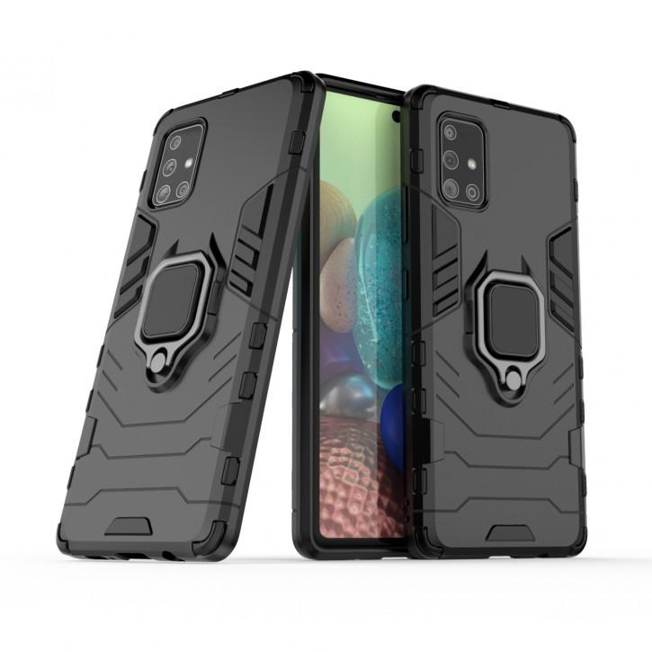 COOVY® Cover für Samsung Galaxy A71 5G SM-A716F Bumper Case, Plastik + TPU-Silikon, extra stark, Anti-Shock, Stand Funktion + Magnethalter kompatibel |