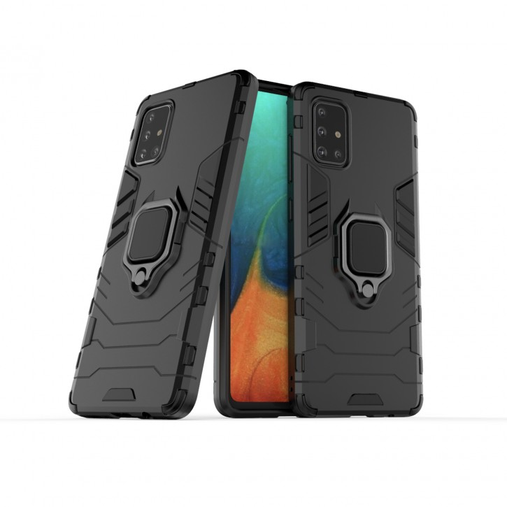 COOVY® Cover für Samsung Galaxy A71 SM-A715F/DS, SM-A715F/DSN Bumper Case, Plastik + TPU-Silikon, extra stark, Anti-Shock, Stand Funktion + Magnethalter kompatibel |