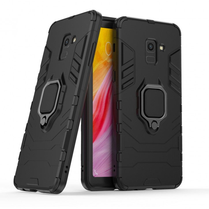 COOVY® Cover für Samsung Galaxy A8 + plus  SM-A730 / SM-A730F/DS (Model 2018) Bumper Case, Plastik + TPU-Silikon, extra stark, Anti-Shock, Stand Funktion + Magnethalter kompatibel |