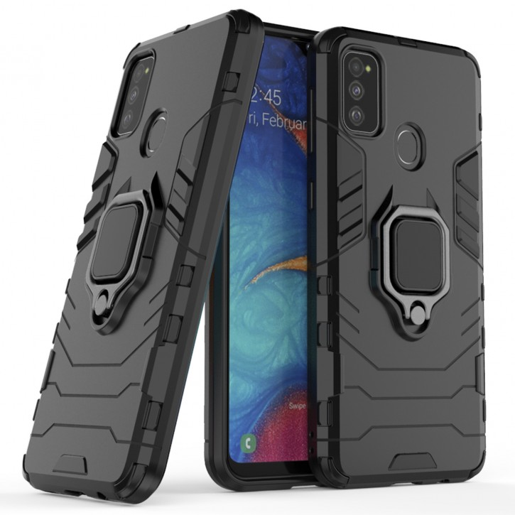 COOVY® Cover für Samsung Galaxy M30s / M21 SM-M307FN/DS Bumper Case, Plastik + TPU-Silikon, extra stark, Anti-Shock, Stand Funktion + Magnethalter kompatibel |