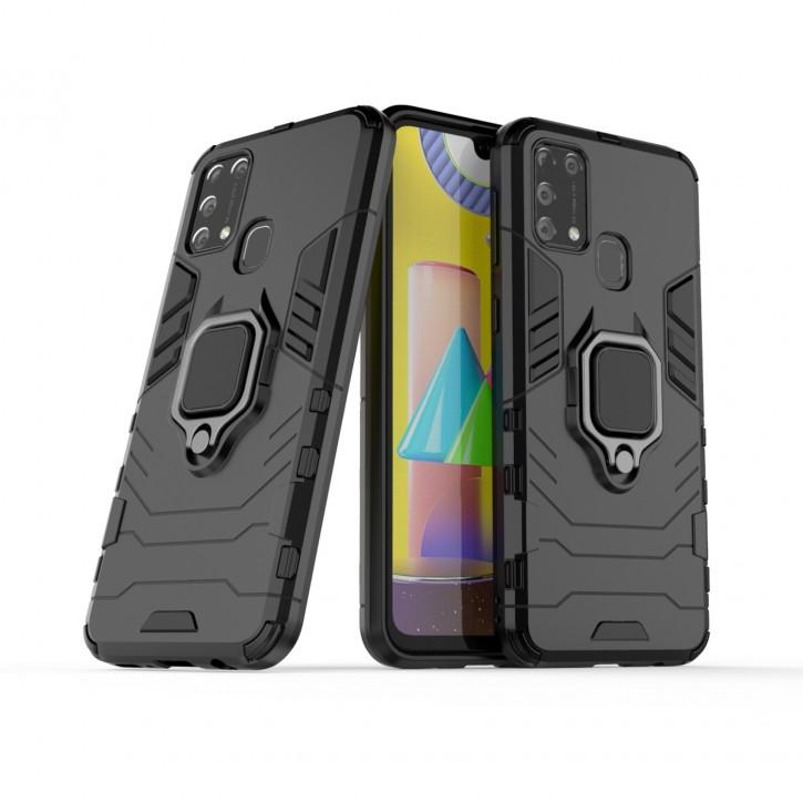 COOVY® Cover für Samsung Galaxy M31 SM-M315F/DS / SM-M315F/DSN Bumper Case, Plastik + TPU-Silikon, extra stark, Anti-Shock, Stand Funktion + Magnethalter kompatibel |