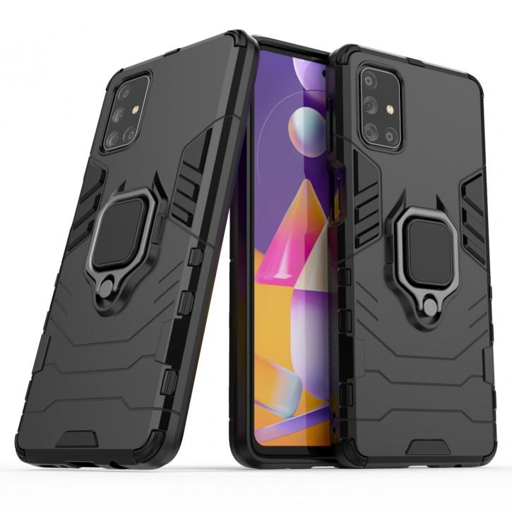 COOVY® Cover für Samsung Galaxy M31s SM-M317F Bumper Case, Plastik + TPU-Silikon, extra stark, Anti-Shock, Stand Funktion + Magnethalter kompatibel |