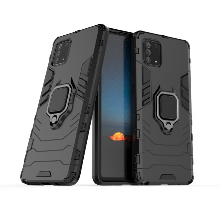 COOVY® Cover für Samsung Galaxy Note 10 Lite SM-N770F/DS Bumper Case, Plastik + TPU-Silikon, extra stark, Anti-Shock, Stand Funktion + Magnethalter kompatibel |