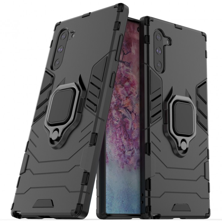 COOVY® Cover für Samsung Galaxy Note 10 SM-N970F / SM-N970F/DS Bumper Case, Plastik + TPU-Silikon, extra stark, Anti-Shock, Stand Funktion + Magnethalter kompatibel |