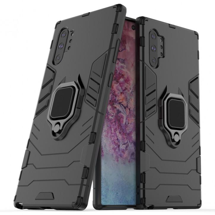 COOVY® Cover für Samsung Galaxy Note 10 + plus SM-N975F / SM-N976F Bumper Case, Plastik + TPU-Silikon, extra stark, Anti-Shock, Stand Funktion + Magnethalter kompatibel |