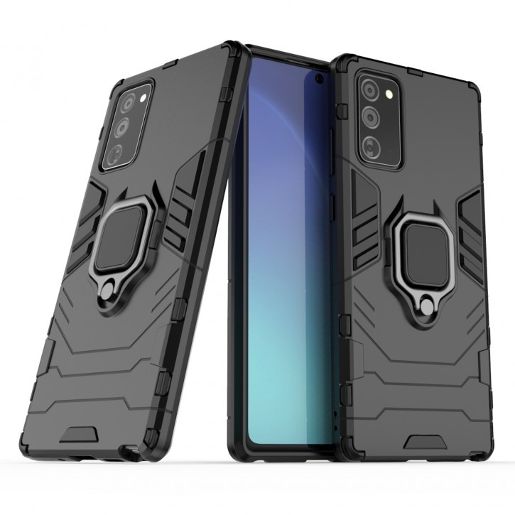 COOVY® Cover für Samsung Galaxy Note 20 SM-N980F/DS Bumper Case, Plastik + TPU-Silikon, extra stark, Anti-Shock, Stand Funktion + Magnethalter kompatibel |