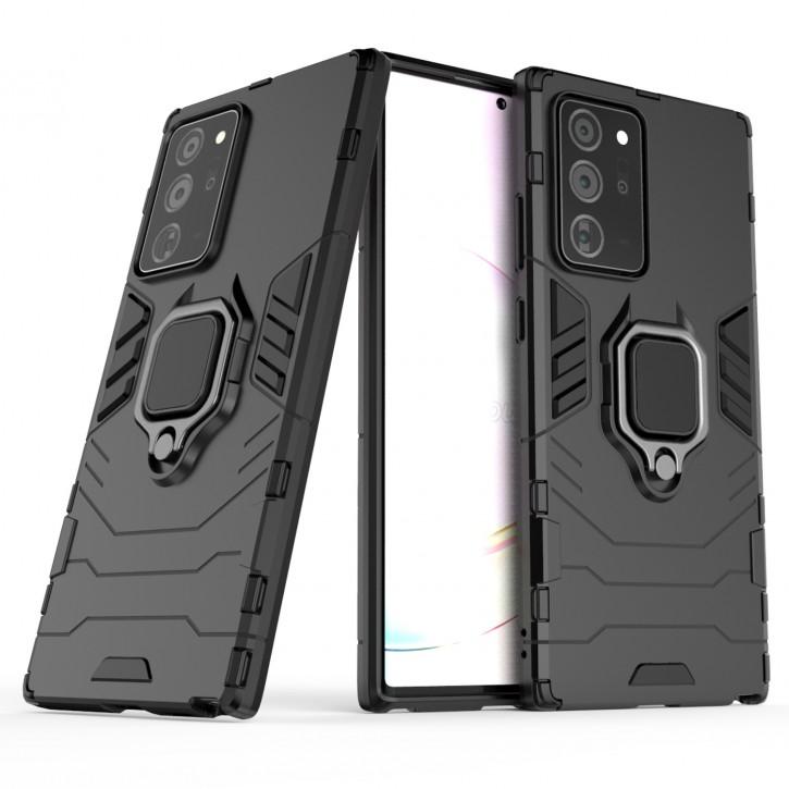 COOVY® Cover für Samsung Galaxy Note 20 Ultra  SM-N986B Bumper Case, Plastik + TPU-Silikon, extra stark, Anti-Shock, Stand Funktion + Magnethalter kompatibel |