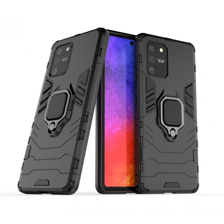 COOVY® Cover für Samsung Galaxy S10 Lite / SM-G770F/DS / A91 SM-A915F/DS Bumper Case, Plastik + TPU-Silikon, extra stark, Anti-Shock, Stand Funktion + Magnethalter kompatibel |