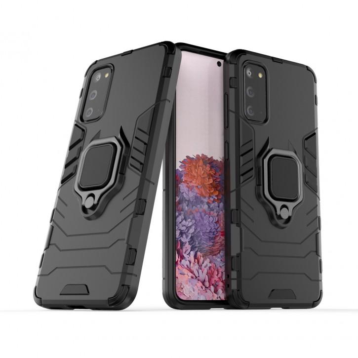 COOVY® Cover für Samsung Galaxy S20 SM-G980F/DS / SM-G981 Bumper Case, Plastik + TPU-Silikon, extra stark, Anti-Shock, Stand Funktion + Magnethalter kompatibel |