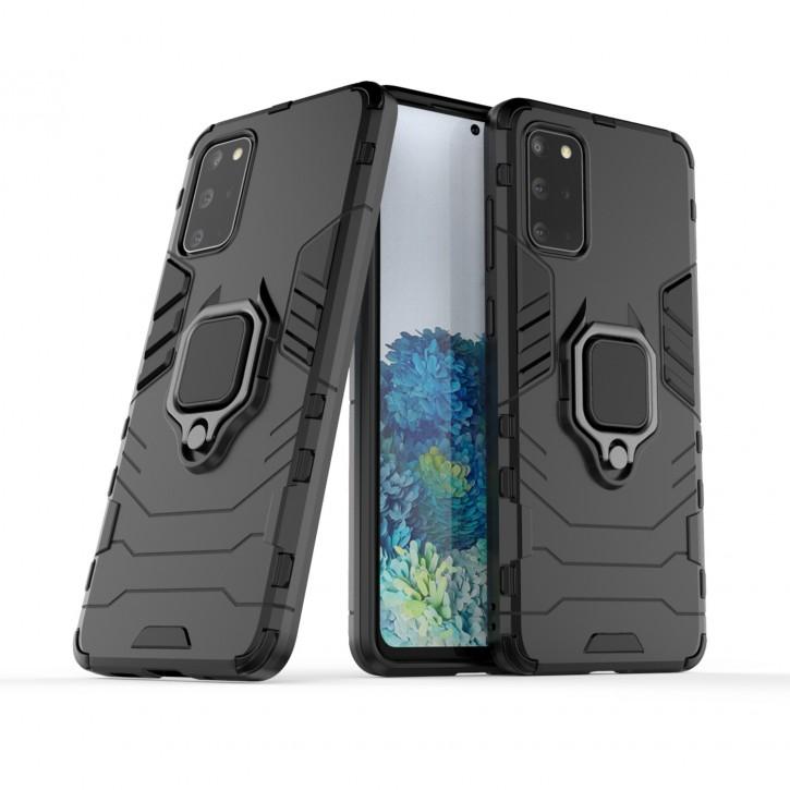 COOVY® Cover für Samsung Galaxy S20 + Plus SM-G986BLBDEUB Bumper Case, Plastik + TPU-Silikon, extra stark, Anti-Shock, Stand Funktion + Magnethalter kompatibel |