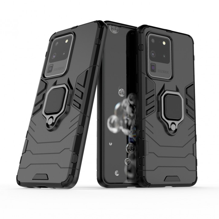 COOVY® Cover für Samsung Galaxy S20 Ultra SM-G988B/DS Bumper Case, Plastik + TPU-Silikon, extra stark, Anti-Shock, Stand Funktion + Magnethalter kompatibel |