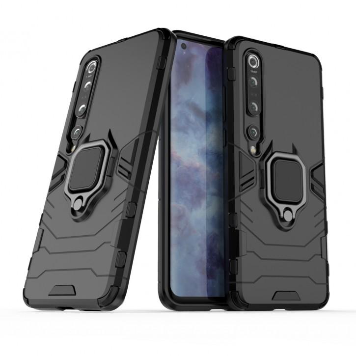 COOVY® Cover für Xiaomi Mi 10 5G / 10 Pro 5G Bumper Case, Plastik + TPU-Silikon, extra stark, Anti-Shock, Stand Funktion + Magnethalter kompatibel |