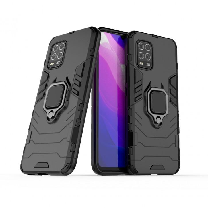 COOVY® Cover für Xiaomi Mi 10 Lite 5G Bumper Case, Plastik + TPU-Silikon, extra stark, Anti-Shock, Stand Funktion + Magnethalter kompatibel |