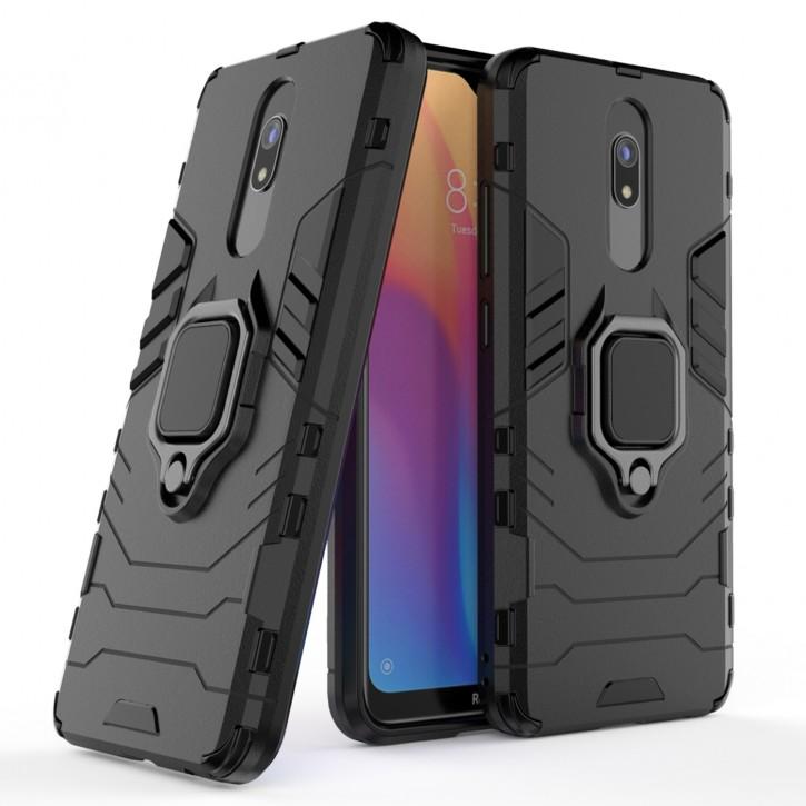 COOVY® Cover für Xiaomi Redmi 8 / 8A / 8A Pro Bumper Case, Plastik + TPU-Silikon, extra stark, Anti-Shock, Stand Funktion + Magnethalter kompatibel |