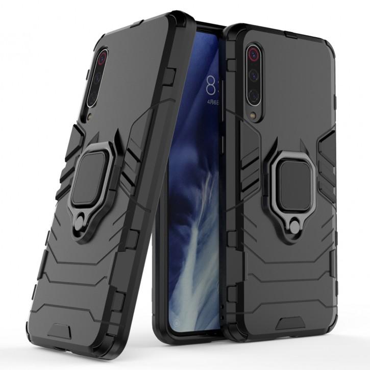 COOVY® Cover für Xiaomi Mi 9 Pro Bumper Case, Plastik + TPU-Silikon, extra stark, Anti-Shock, Stand Funktion + Magnethalter kompatibel |