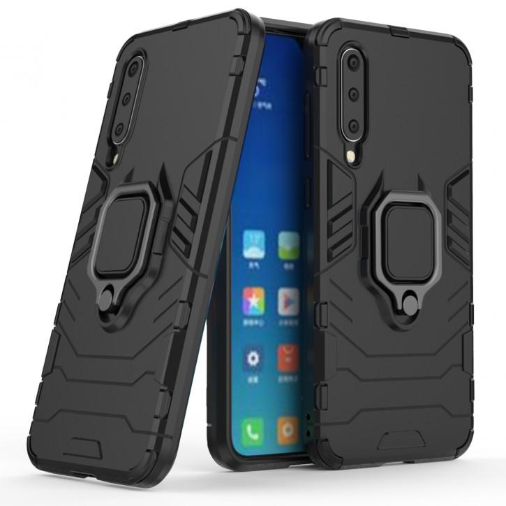 COOVY® Cover für Xiaomi Mi 9 SE Bumper Case, Plastik + TPU-Silikon, extra stark, Anti-Shock, Stand Funktion + Magnethalter kompatibel |