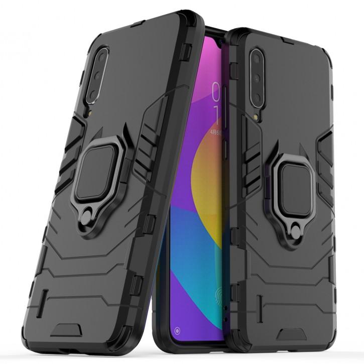 COOVY® Cover für Xiaomi Mi CC9 / 9 Lite Bumper Case, Plastik + TPU-Silikon, extra stark, Anti-Shock, Stand Funktion + Magnethalter kompatibel  