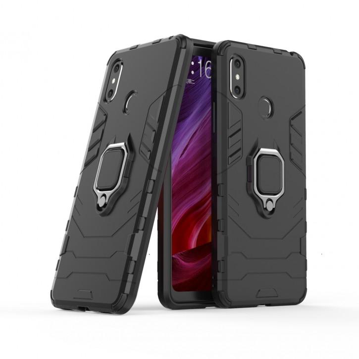 COOVY® Cover für Xiaomi Mi Max 3 Bumper Case, Plastik + TPU-Silikon, extra stark, Anti-Shock, Stand Funktion + Magnethalter kompatibel |