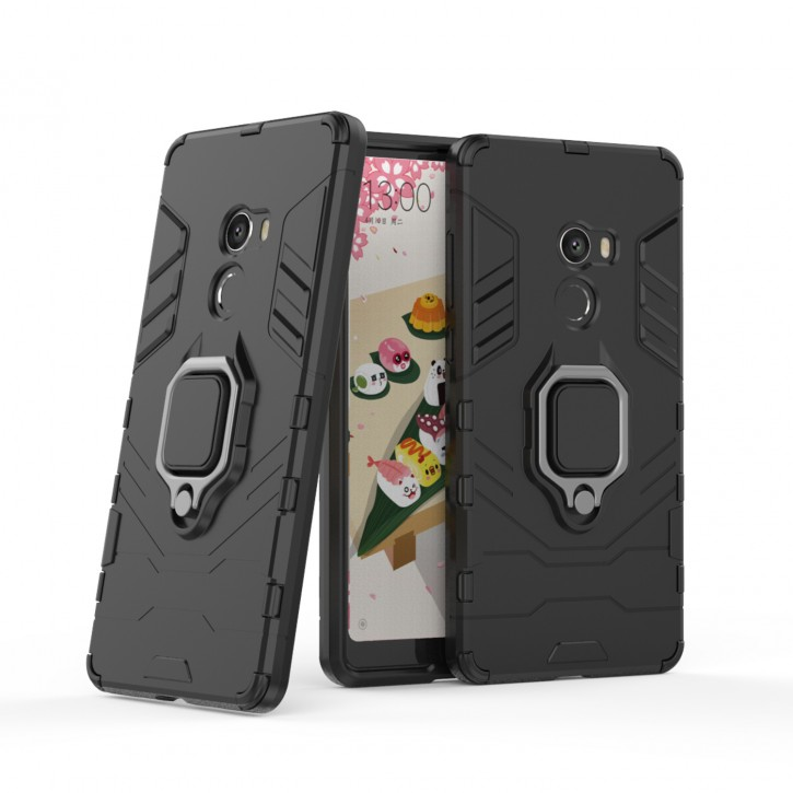COOVY® Cover für Xiaomi Mi Mix 2 Bumper Case, Plastik + TPU-Silikon, extra stark, Anti-Shock, Stand Funktion + Magnethalter kompatibel |