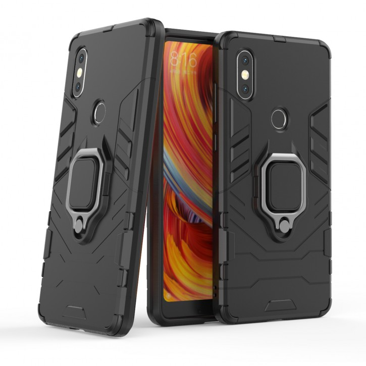 COOVY® Cover für Xiaomi Mi Mix 2S Bumper Case, Plastik + TPU-Silikon, extra stark, Anti-Shock, Stand Funktion + Magnethalter kompatibel |