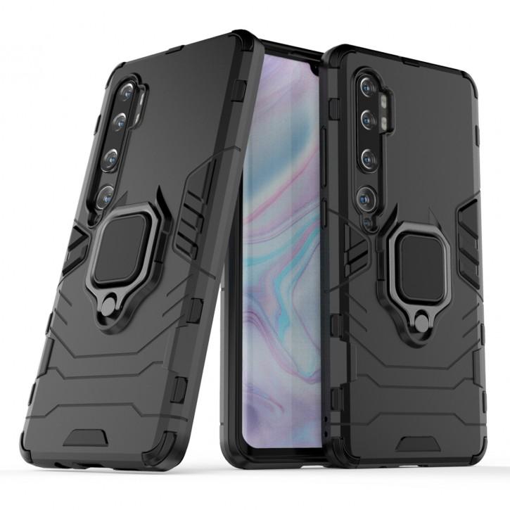 COOVY® Cover für Xiaomi Mi Note 10 / Note 10 Pro Bumper Case, Plastik + TPU-Silikon, extra stark, Anti-Shock, Stand Funktion + Magnethalter kompatibel |