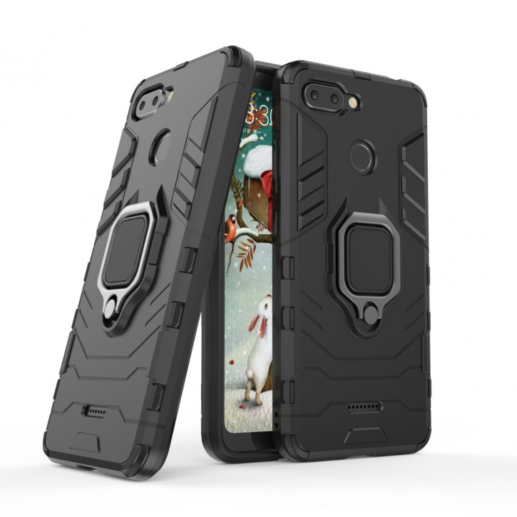 COOVY® Cover für Xiaomi Redmi 6 Bumper Case, Plastik + TPU-Silikon, extra stark, Anti-Shock, Stand Funktion + Magnethalter kompatibel |