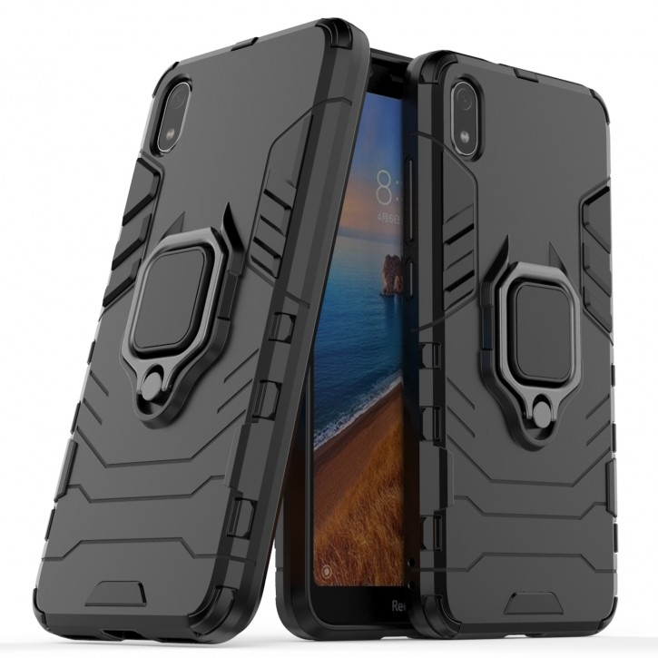 COOVY® Cover für Xiaomi Redmi 7a Bumper Case, Plastik + TPU-Silikon, extra stark, Anti-Shock, Stand Funktion + Magnethalter kompatibel |